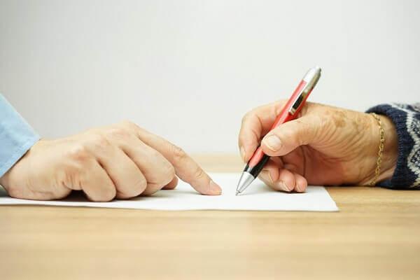 signing legal paperwork